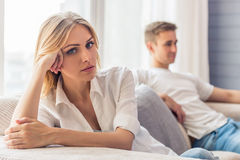 Young couple quarrels royalty free stock images