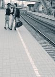 Young couple on railway station Stock Photo