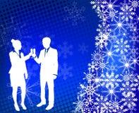 Young couple raising toast - winter background Stock Photos