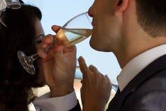 Young couple raising wedding toast Royalty Free Stock Image