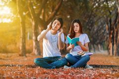 Young couple reading a book and listening music with headphone i. N the park Royalty Free Stock Image