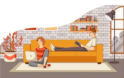 Young couple reading book and using laptop on sofa in the living room. N vector illustration
