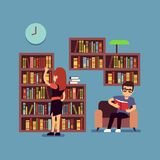 Young couple reading books - flat library or living room concept. Guy and girl read book in home, vector illustration royalty free illustration