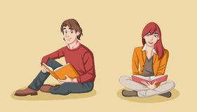 Young couple reading books. Students Stock Images