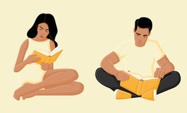 Young couple reading books. On yellow background Stock Image