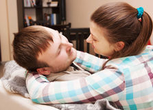 Young couple reconciled royalty free stock images