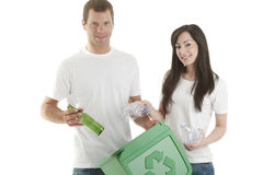 Young couple recycling Royalty Free Stock Photo