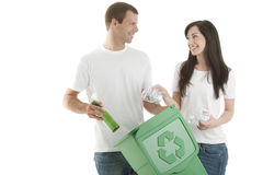 Young couple recycling Stock Images