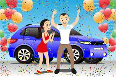 Free Young Couple Rejoices To A New Car. Stock Photos - 182676223