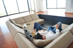 Young couple relax at home Stock Photography
