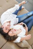 Young couple relax at home Royalty Free Stock Photos