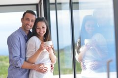 Young couple relax at home Stock Images