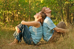 Young couple relaxed in nature stock images
