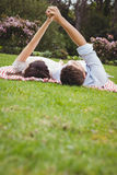 Young couple relaxing on blanket Royalty Free Stock Image