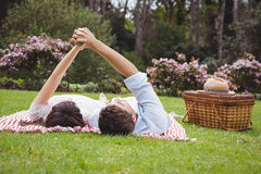 Young couple relaxing on blanket Royalty Free Stock Photography
