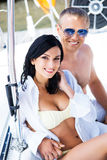 Young couple relaxing on a boat Stock Photography