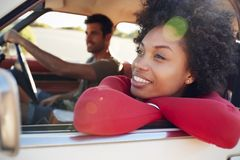 Young Couple Relaxing In Car During Road Trip Royalty Free Stock Photos