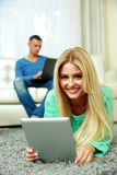 Young couple relaxing at home Royalty Free Stock Photo