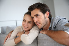 Young couple relaxing at home Royalty Free Stock Photography