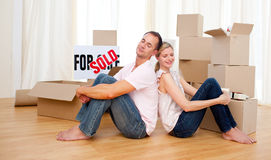 Young couple relaxing while moving Royalty Free Stock Image