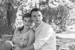 Young couple relaxing in park royalty free stock photo