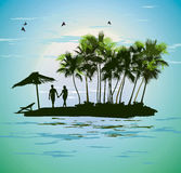 Young couple relaxing on a tropical island Stock Photos