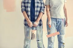Young couple renovating the house royalty free stock photography