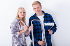 Young couple renovating. Their first home Royalty Free Stock Photos
