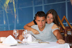 Young couple in resort restaurant Stock Photos