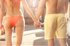Young couple rest togethernear swimming pool healthy lifestyle Royalty Free Stock Image