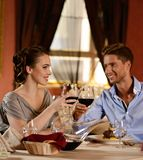 Young couple in a restaurant Royalty Free Stock Images