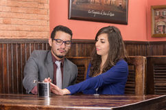 Young couple in a restaurant Royalty Free Stock Photos