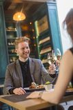 Young couple in the restaurant Stock Images