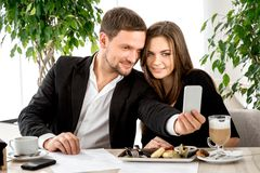 Young couple at the restaurant Royalty Free Stock Photography