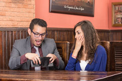 Young couple in a restaurant Stock Photo