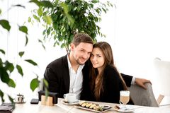 Young couple at the restaurant Royalty Free Stock Photo