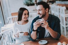 Young Couple is Resting in Cafe royalty free stock photo