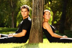 Young couple resting in the park Royalty Free Stock Images
