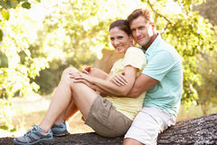 Young Couple Resting On Tree In Park. Young Couple In Walking Clothes Resting On Tree In Park Royalty Free Stock Photography