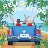 Young couple in retro cabriolet car on beach. Young couple sitting in retro cabriolet car with raised open arms outstretched, on beach near ocean. Back view Royalty Free Stock Photos
