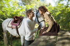 Young couple riding Stock Photography
