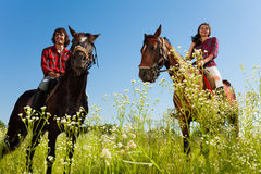 Young couple riding purebred horses at countryside Stock Photo