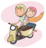 Young couple riding a scooter Stock Images