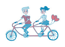 Young couple riding tandem bicycle. Dating. Hand drawing illustration. Isolated vector.  Can be used for your design project Royalty Free Stock Photo