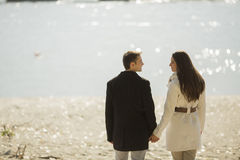 Young couple by the river Stock Photo