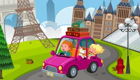 A Young Couple on Road Trip in Europe vector illustration