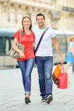 Young couple roaming streets Royalty Free Stock Photo