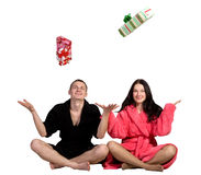 Young couple in robe Stock Photography