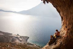 Young couple of rock climbers having a rest Stock Photo