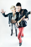 Young couple with rocker outfit Stock Photos